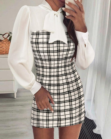 Plaid Long Sleeve Tweed Bodycon Dress