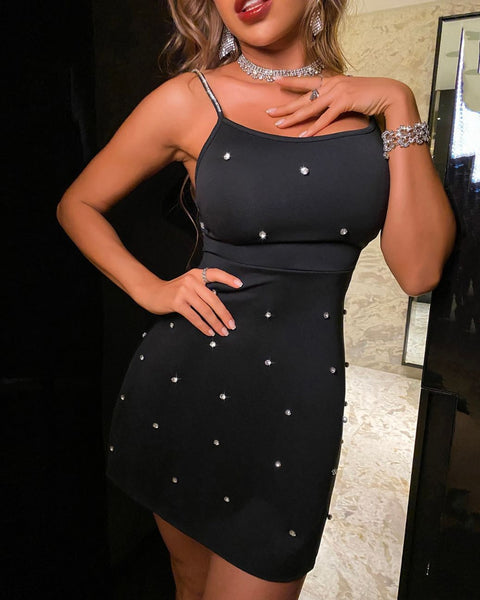 Rhinestone Studded Strap Party Dress