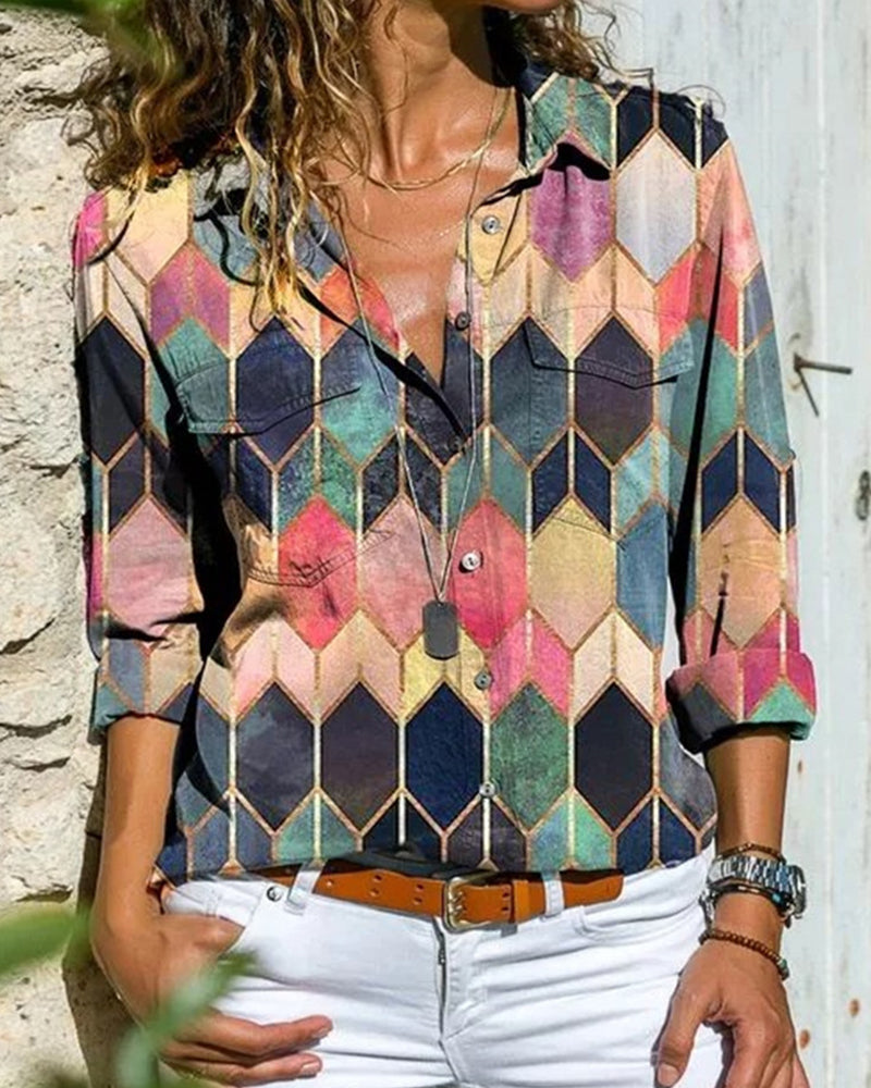 Multicolor Geometric Print Long Sleeve Loose Shirt