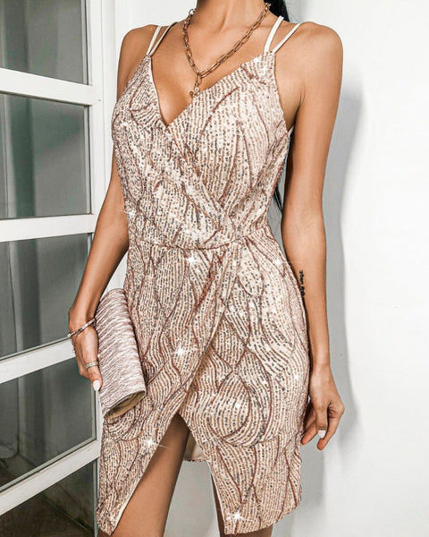 Backless Wrap Sequins Bodycon Dress