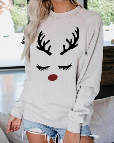Christmas Moose Print Casual Sweatshirt