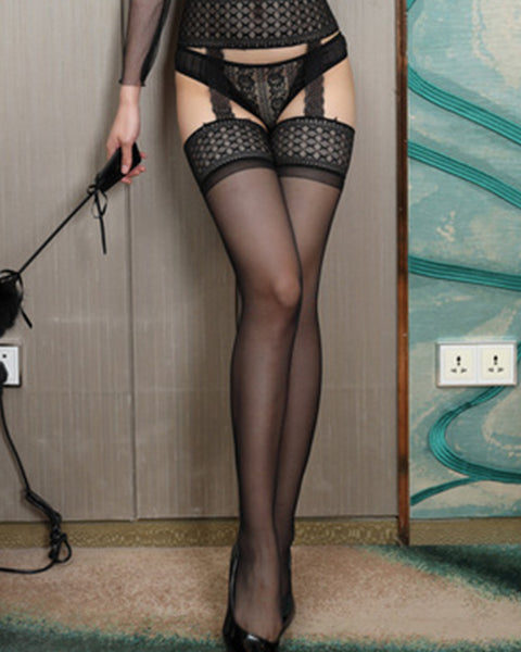 Sexy Temptation Mesh Splicing Lace Stockings With Garter