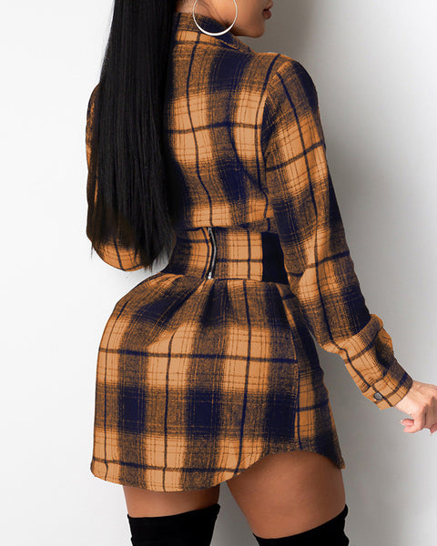 Plaid Print Eyelet Lace Up Shirt Dress