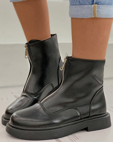 Zipper Design Combat Boots