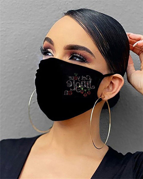 Christmas Pattern Studded Filter Breathable Face Mask