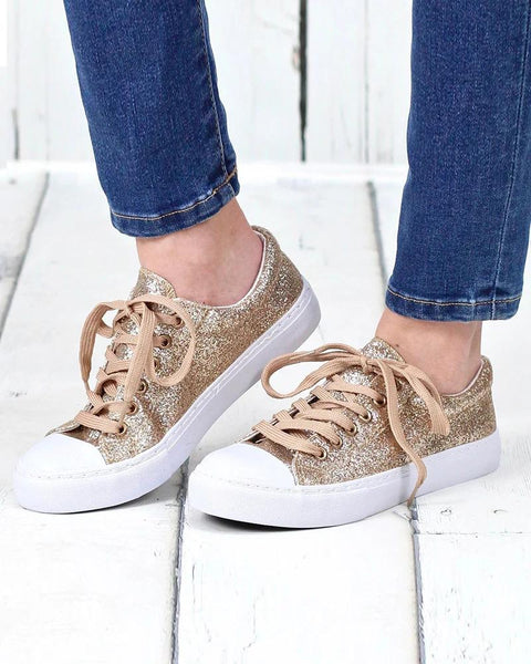 Artificial Leather Flat Sneakers