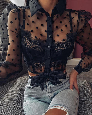 Polka Dot Mesh Lace Tie Front Top