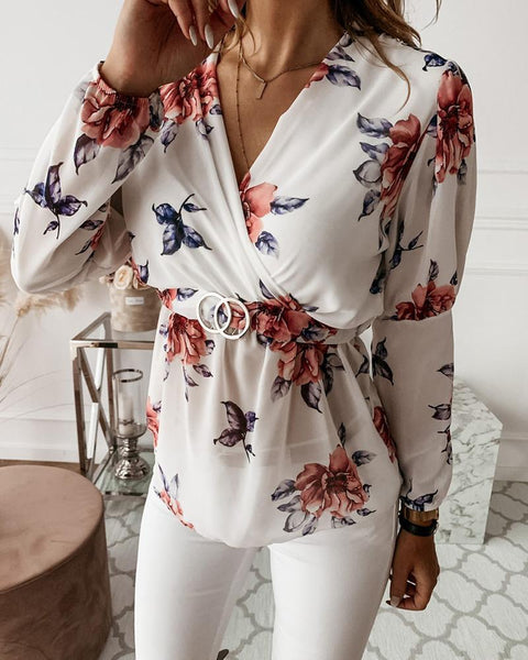 V Neck Floral Chffon Top