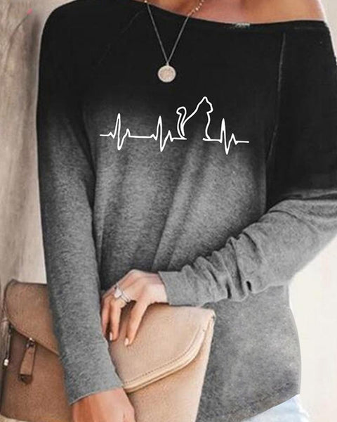 Print Gradient Long Sleeve T-shirts