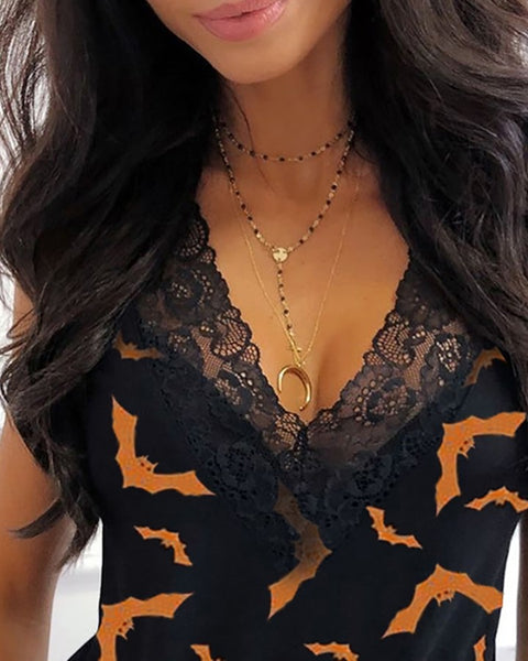 Halloween Bat Print Lace Trim Top