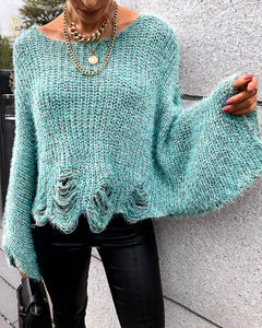 Bell Sleeve Hollow Out Knit Sweater