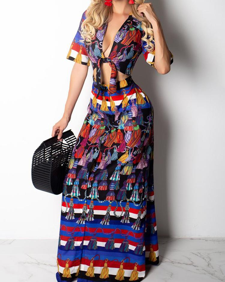 Ethnic Print Cutout Knot Front Maxi Dress