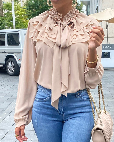 Ruffle Long Sleeve Lace-up Blouse