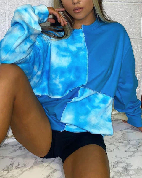 Tie Dye Colorblock Patchwork Long Sleeve T-shirts