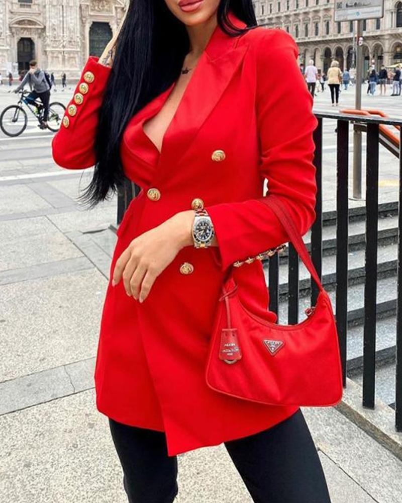 Solid Color Double-breasted Long Sleeve Coat