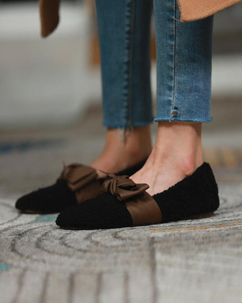 Colorblock Patchwork Ruond-toe Bowknot Fluffy Loafers