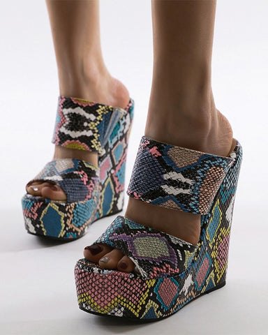 Round-toe Multicolor Snakeskin Print Open-toe Wedges Shoes