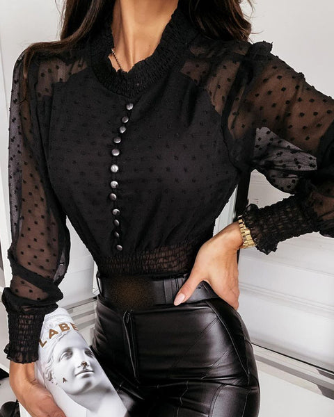Sheer Mesh Swiss Dot Puffed Sleeve Button Front Top