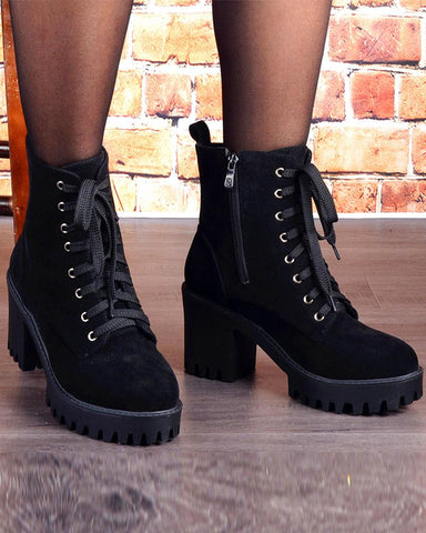 Solid Lace-up Platform High Heel Martins Boots