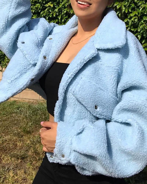 Fluffy Plain Pocket Design Teddy Coat