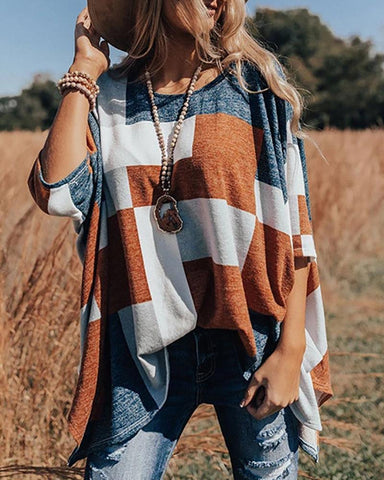 Color Block Half Sleeve Blouse