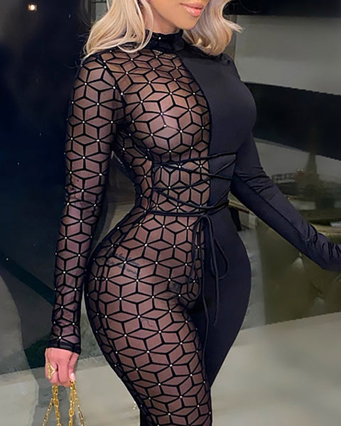 Studded Sheer Mesh Long Sleeve Jumpsuit