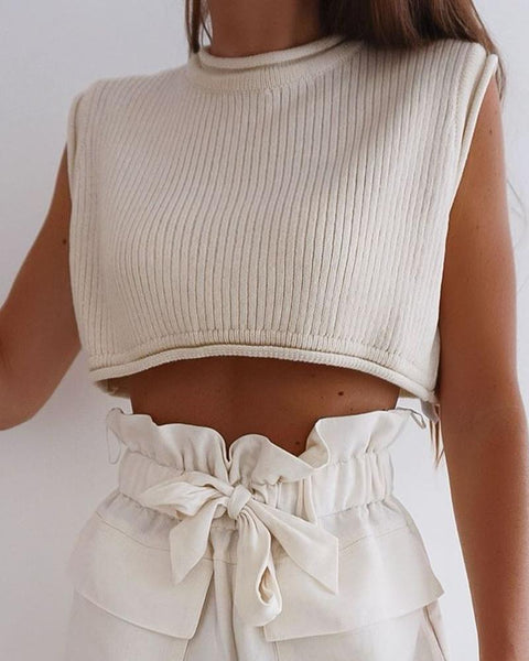 Solid Color Sleeveless Cropped Sweater