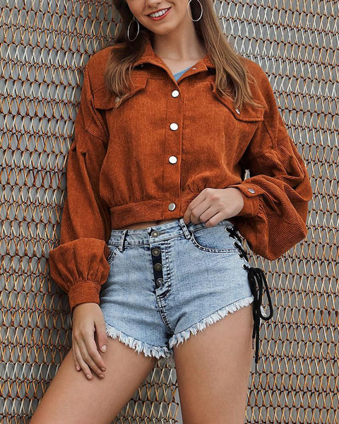 Solid Color Long Sleeve Corduroy Coat