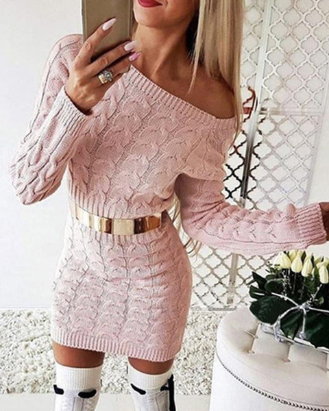 Solid Long Sleeve Skinny Waist Cable-knit Dress