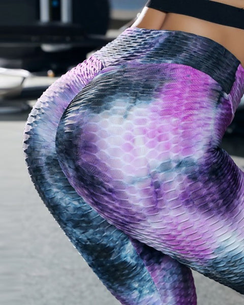 Tie Dye Print Bubble Textured High Waisted Butt Lifting Yoga Pants