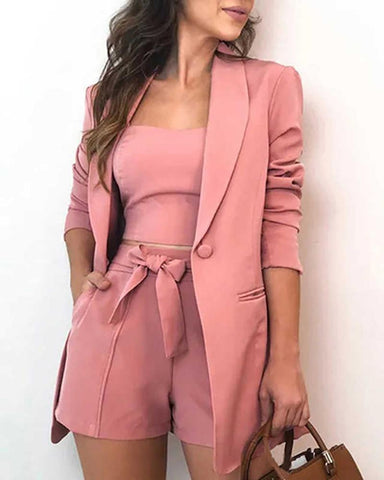 Solid Top & Button Design Blazer Coat & Shorts Sets