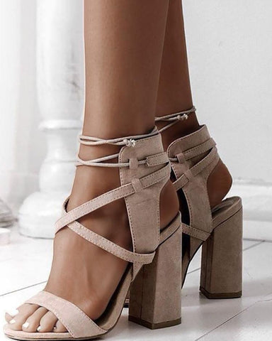 Lace Up Open Toe Block Heels Sandals