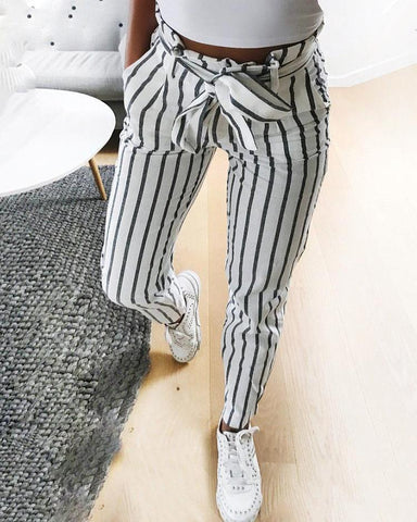 Fashion Striped Belted Casual Pants