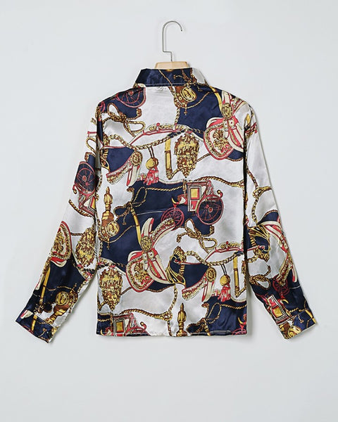 Scarf Print Buttoned Long Sleeve Casual Shirt
