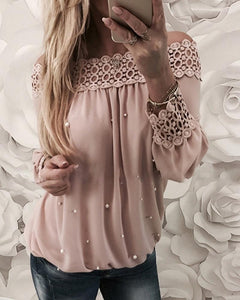 Off Shoulder Beaded Hollow Out Blouse