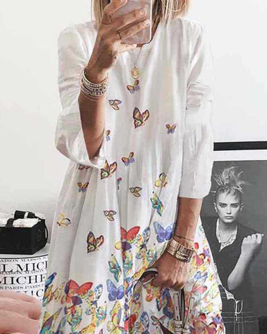 Butterfly Printing Long Sleeve Dress