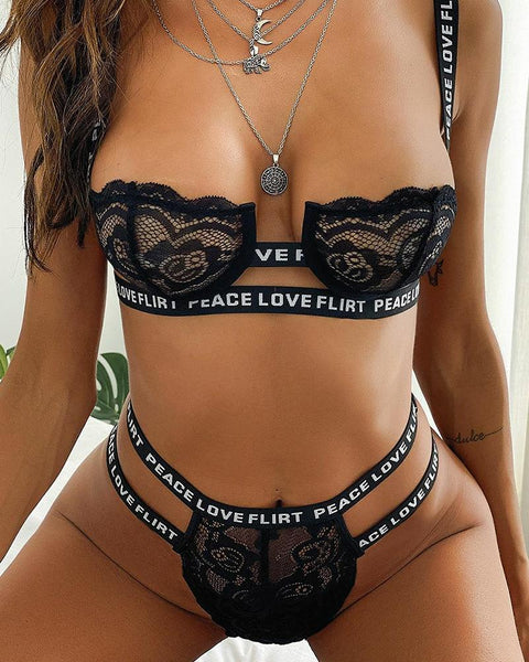 Letter Printing With Lace Strap Patchwork Bra With Panties Sexy Sets