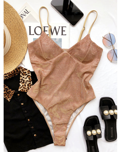 Solid Shinny Strap Skinny One-piece Swimwear Bodysuit