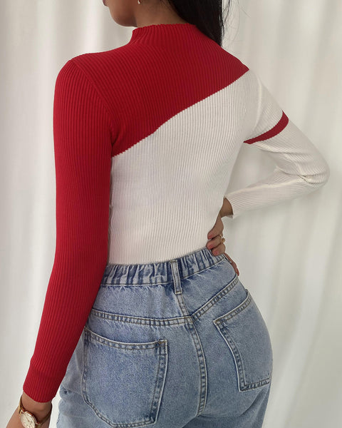 Colorblock Long Sleeve Knit Top