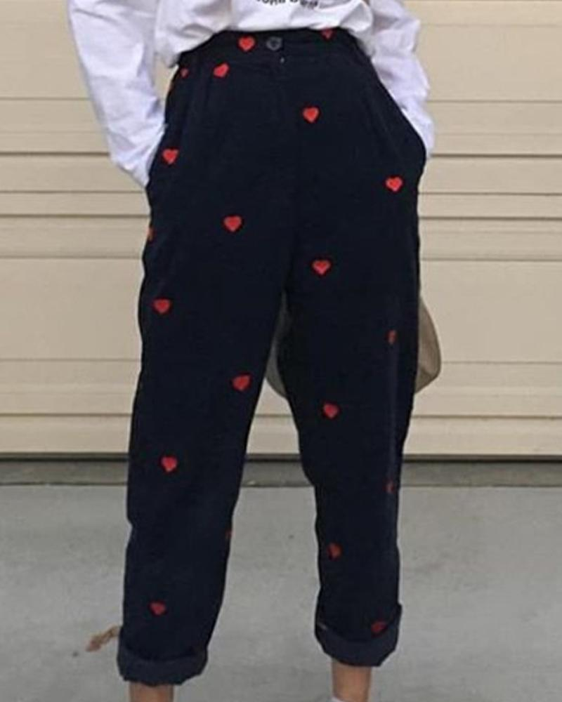 Casual Heart Printing Straight Pants
