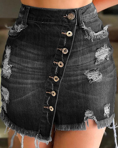 Solid Color Ripped Jean Skirt