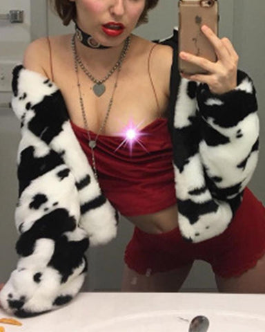 Dairy Print Long Sleeve Cropped Fluffy Jackets
