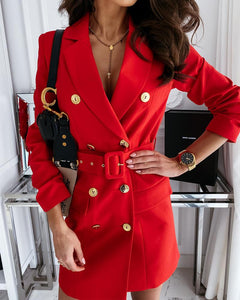 Solid Color Double Breasted Long Sleeve Suit Coat