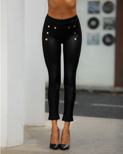 High Waist Buttoned Detail Coated PU Pants