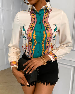 Mixed Print Colorblock Buttoned Long Sleeve Shirt