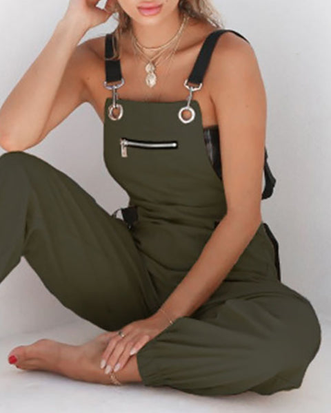 Hang Buckle Zipper Detail Suspender Jumpsuit