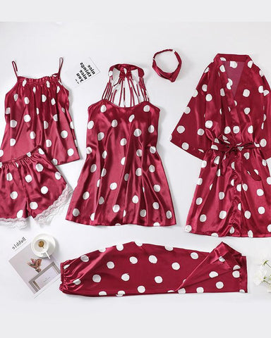 Polka Dot 5pcs Pajama Set