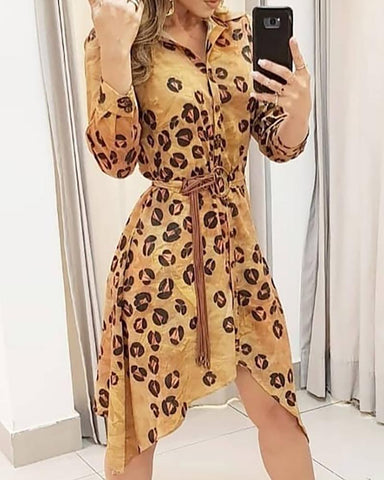 Cheetah Print Long Sleeve Irregular Shirt Dress