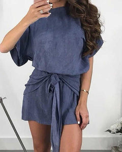 Solid Short Sleeve Belted Casual Dress