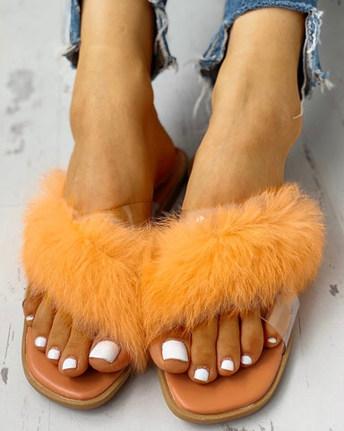 Furry Bell  Open Toed Flat sandals